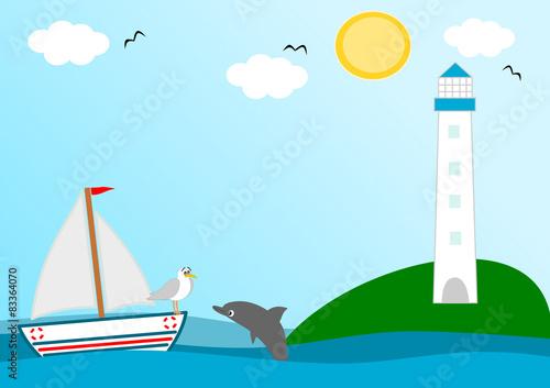 Staande foto Dolfijnen lighthouse in a beautiful sunny day cartoon illustration