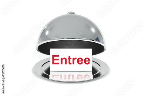 Foto auf Gartenposter Vorspeise opened silver cloche with white sign entree