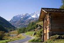 Wood Cabin In Mountain Valley, In Switzerland, Swiss, Valais.