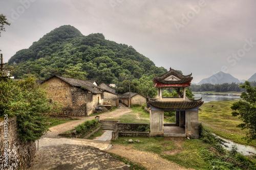 Fototapeta River ships pier on Lijiang River, Yangshuo, Guangxi Province