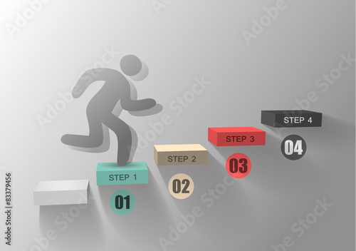 Fotografie, Obraz  step by step / view your data / person goes up the stairs