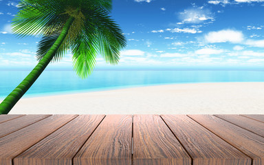 Fototapeta3D wooden table looking out to a beach with palm tree