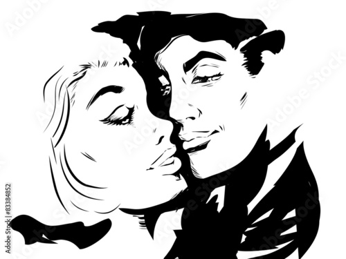 Croquis Couple Amoureux Gros Plan Profil Buy This Stock