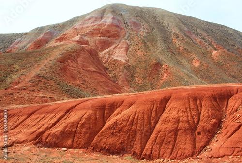 Foto op Canvas Baksteen Landscape of the mountain Bogdo to lake Baskunchak. Russia.