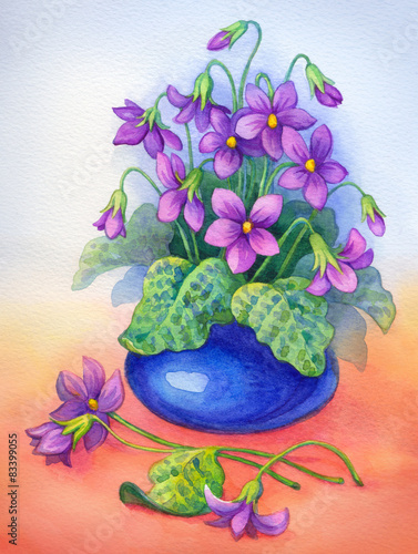 Watercolor painting. Flowers in blue vase - 83399055