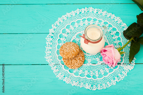Fotografie, Tablou  Wedding breakfast on blue wooden background. Top view