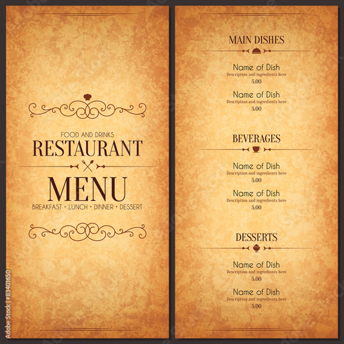 Fotobehang Restaurant Restaurant menu design