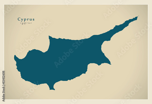 Fototapeta Modern Map - Cyprus United Island CY