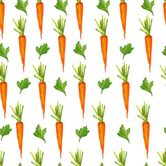 Naklejka Seamless pattern with carrots and greens. Watercolor style