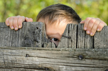 Male Kid Peeking Over A Rustic...