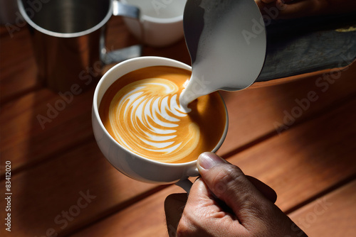 Making of cafe latte art Wallpaper Mural
