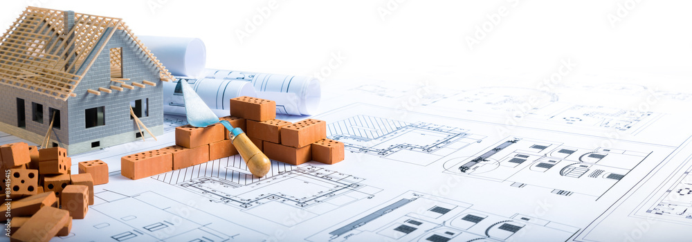 Obraz building house - bricks and project for construction industry  fototapeta, plakat