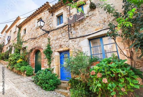 Fototapety, obrazy: Beautiful street with flower pots in Tossa de Mar, Spain