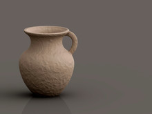 Pottery Water Jar On Gray Background