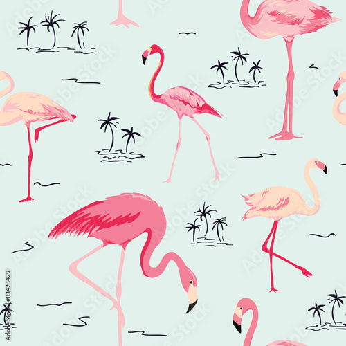 Ingelijste posters Flamingo vogel Flamingo Bird Background - Retro seamless pattern