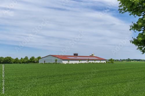 Foto  Hühnerstall mit Solardach auf dem Feld