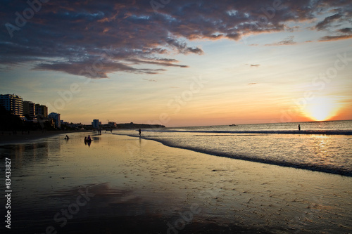 Beautiful Clear Sunset In Murcielago Beach Manta Ecuador