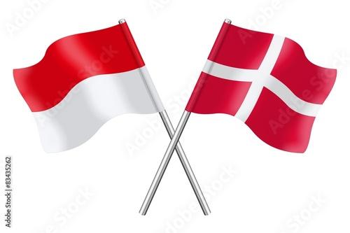Photo  Flags: Monaco, Indonesia and Denmark