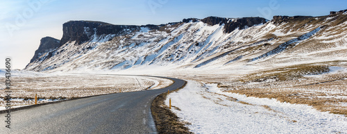 Poster Pole Road Winter Mountain Iceland