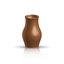 Realistic Clay Pot, Brown Color