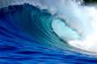 canvas print picture - Blue ocean surfing wave
