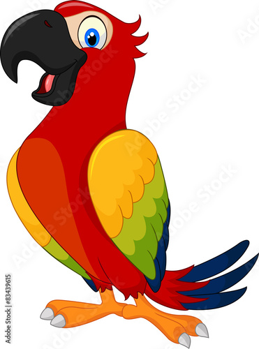 Vászonkép Cartoon cute parrot
