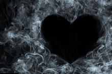 Smoke On Black Background. Heart.