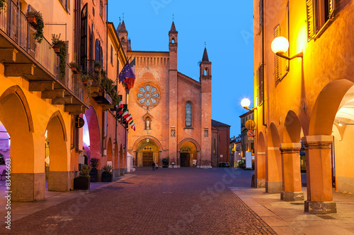 Old town of Alba in evening. Canvas Print