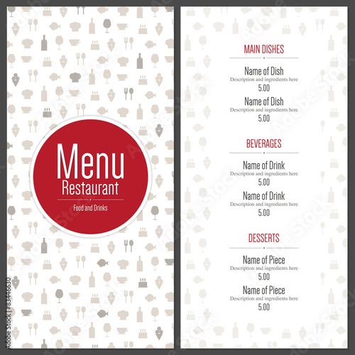 Canvas Print Restaurant menu design