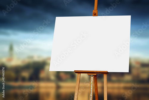Photo Wooden Easel with Blank Painting Canvas