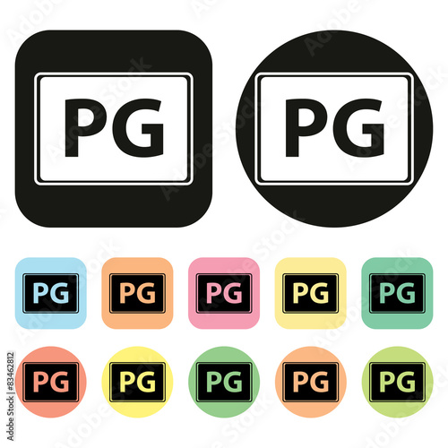 PG rate icon. Parental Guidance icon Wallpaper Mural