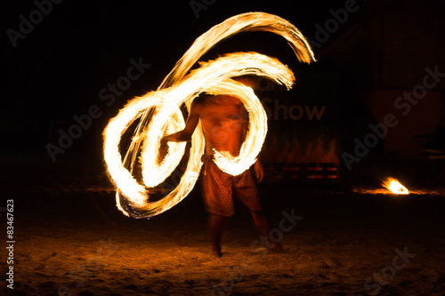 Photo Stands United States Man Fire Show on the beach