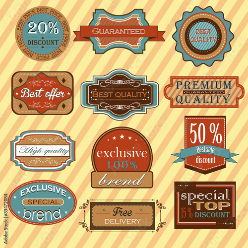 Fotografering  Collection of vintage retro labels, badges and icons