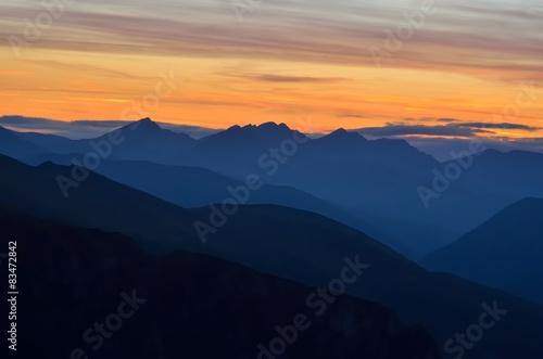 Fotobehang Bergen Mountain landscape at sunset. Tatra in Poland.