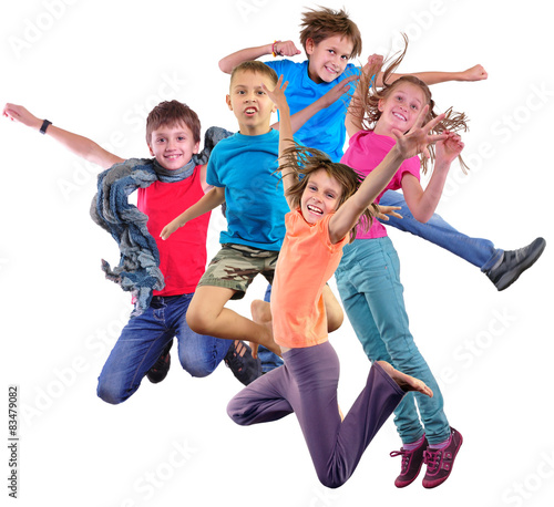 Fototapeta happy dancing jumping children isolated over white background obraz na płótnie