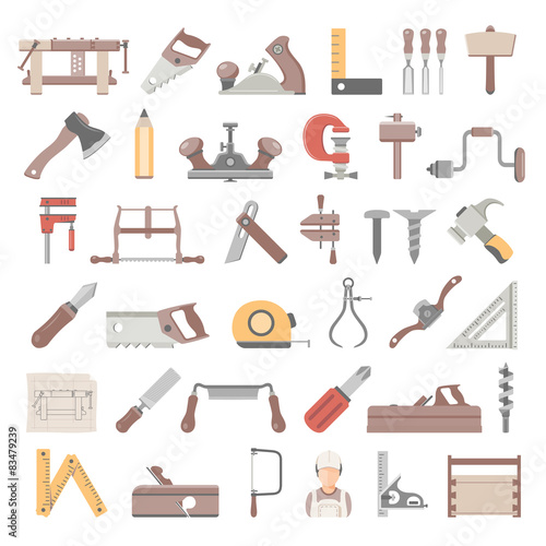 Flat Icons Traditional Woodworking Tools Buy This Stock Vector