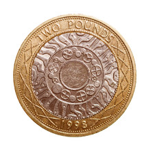Retro Look Two Pounds Coin