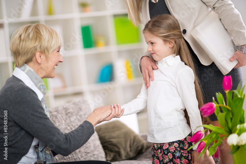 Photo Little  girl introduction her new babysitter