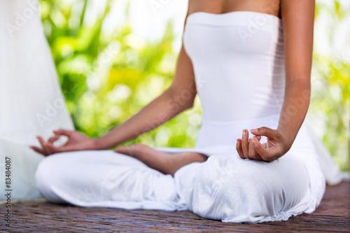 practicing yoga outside
