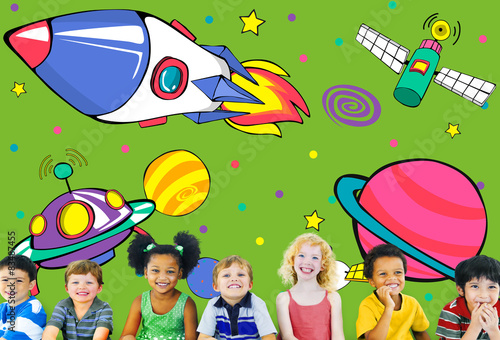 Foto op Canvas Regenboog Planets Aircraft Drawing Earth Launch Concept