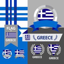 Set Of Greece Flag, Emblem And Pattern Background.