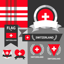 Set Of Switzerland Flag, Emblem And Pattern Background.