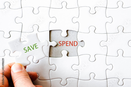 Missing jigsaw puzzle piece with word SAVE - Buy this stock photo
