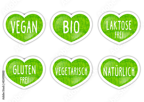 Fotografie, Obraz  Grüne Buttons / Vegan, Bio, Natürlich