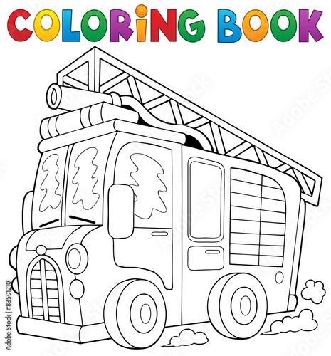 In de dag Cartoon draw Coloring book fire truck theme 1