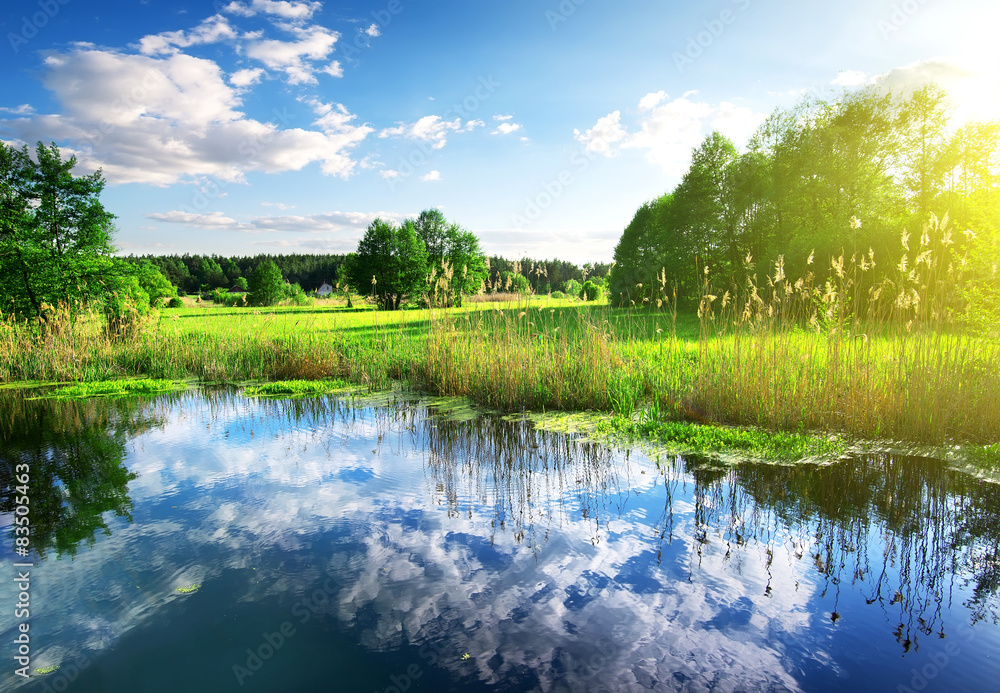 Clouds in river