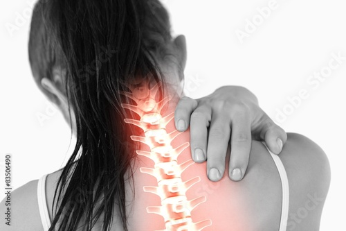 Highlighted spine of woman with neck pain Wallpaper Mural