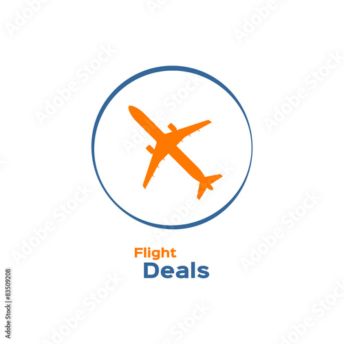 Photo Commercial airplane silhouette logotype, flight deals sign