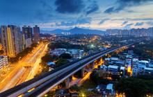 Long Ping, Hong Kong Urban Downtown At Night