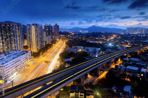 Foto op Canvas Brazilië Long Ping, hong kong urban downtown at night